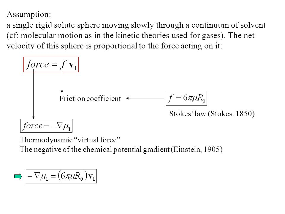 Assumption: a single rigid solute sphere moving slowly through a continuum of solvent (cf: molecular motion as in the kinetic theories used for gases).