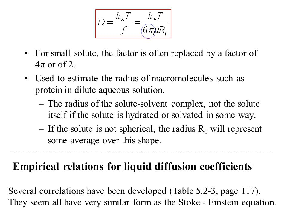 For small solute, the factor is often replaced by a factor of 4  or of 2. Used to estimate the radius of macromolecules such as protein in dilute aqu