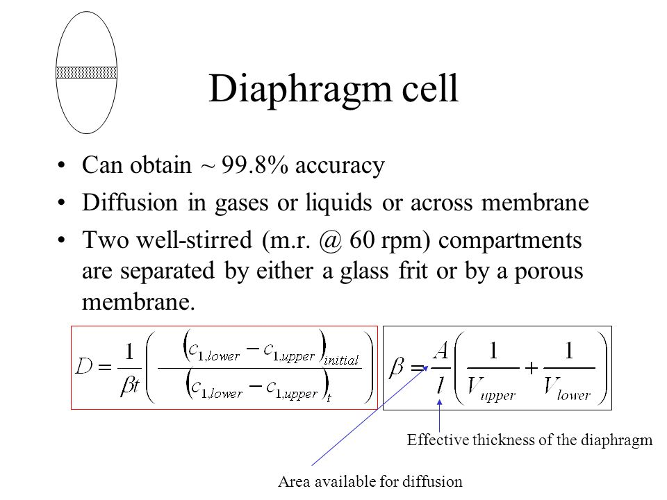 Diaphragm cell Can obtain ~ 99.8% accuracy Diffusion in gases or liquids or across membrane Two well-stirred (m.r.