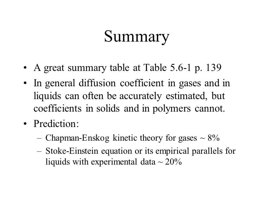 Summary A great summary table at Table 5.6-1 p.