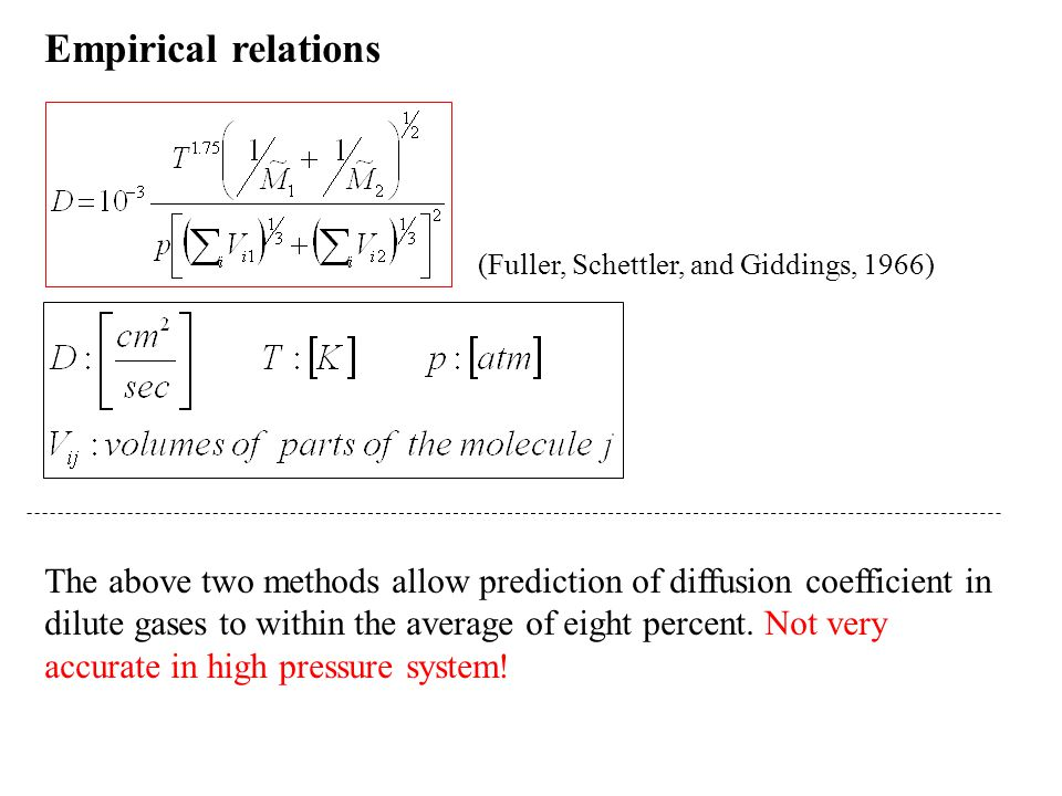 Empirical relations (Fuller, Schettler, and Giddings, 1966) The above two methods allow prediction of diffusion coefficient in dilute gases to within the average of eight percent.