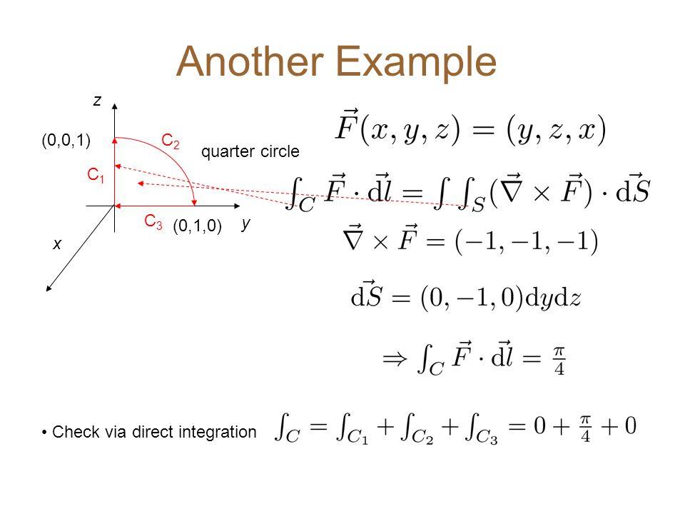 Another Example quarter circle (0,1,0) y x z (0,0,1) C1C1 C3C3 C2C2 Check via direct integration