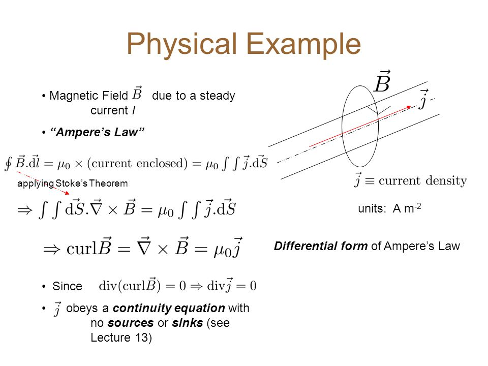 Magnetic Field due to a steady current I Ampere's Law Since obeys a continuity equation with no sources or sinks (see Lecture 13) Physical Example applying Stoke's Theorem units: A m -2 Differential form of Ampere's Law