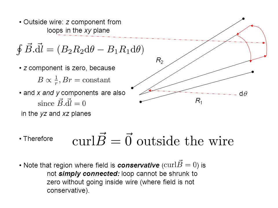 Outside wire: z component from loops in the xy plane z component is zero, because and x and y components are also zero in the yz and xz planes Therefore R1R1 R2R2 dd Note that region where field is conservative ( ) is not simply connected: loop cannot be shrunk to zero without going inside wire (where field is not conservative).