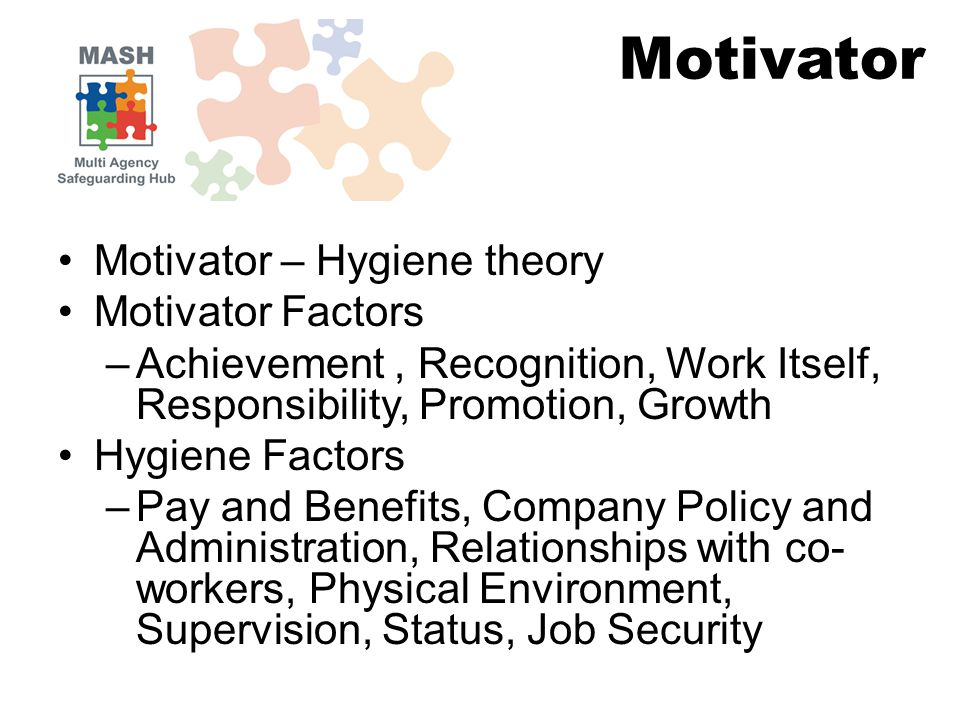 Motivator – Hygiene theory Motivator Factors –Achievement, Recognition, Work Itself, Responsibility, Promotion, Growth Hygiene Factors –Pay and Benefits, Company Policy and Administration, Relationships with co- workers, Physical Environment, Supervision, Status, Job Security Motivator