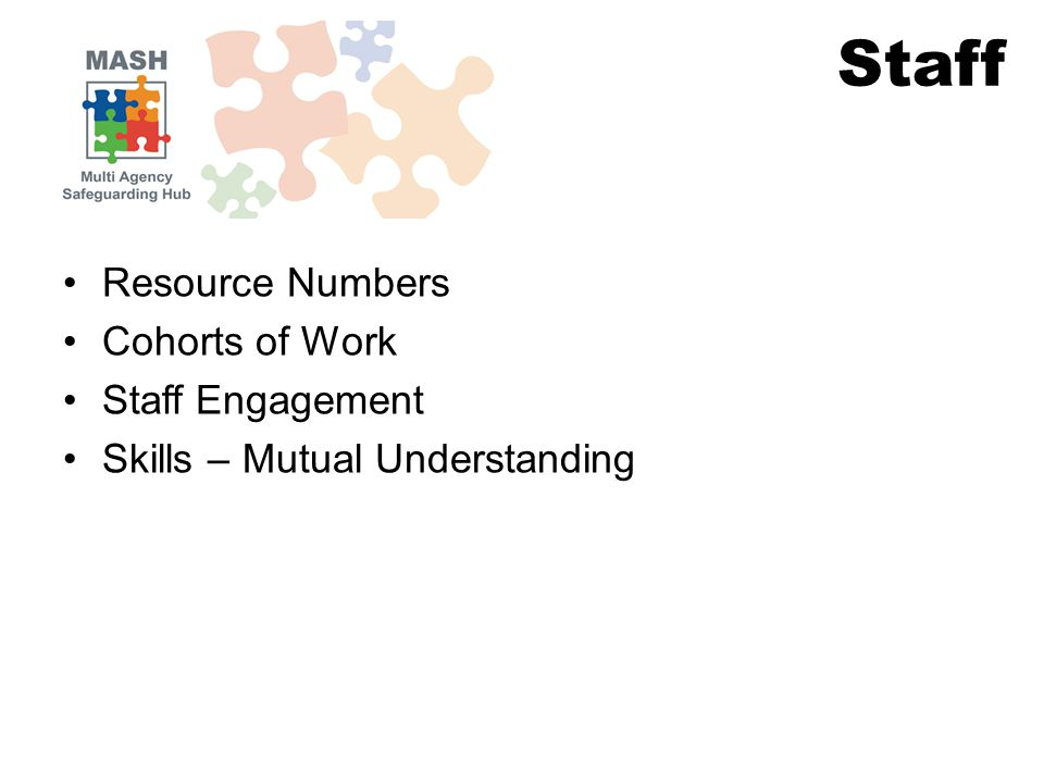 Resource Numbers Cohorts of Work Staff Engagement Skills – Mutual Understanding Staff