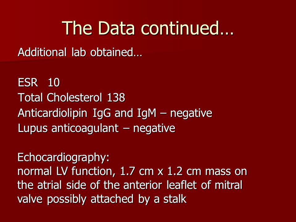 The Data continued… Additional lab obtained… ESR10 Total Cholesterol138 Anticardiolipin IgG and IgM – negative Lupus anticoagulant – negative Echocard