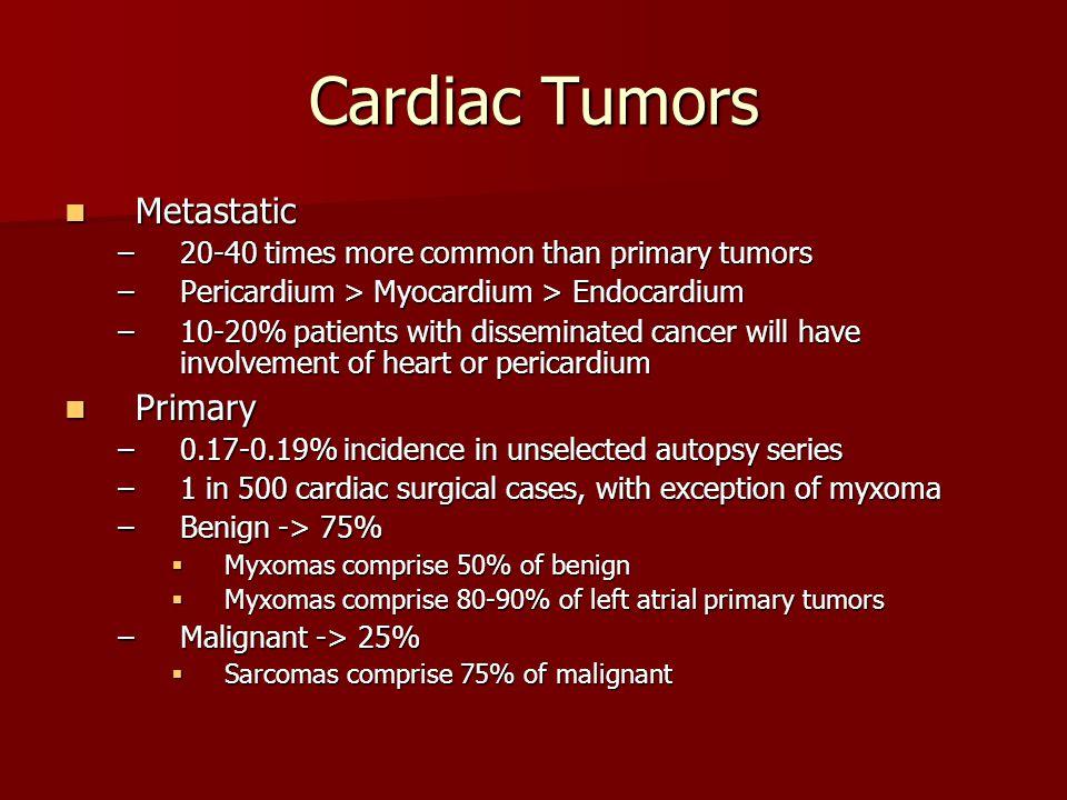 Cardiac Tumors Metastatic Metastatic –20-40 times more common than primary tumors –Pericardium > Myocardium > Endocardium –10-20% patients with dissem
