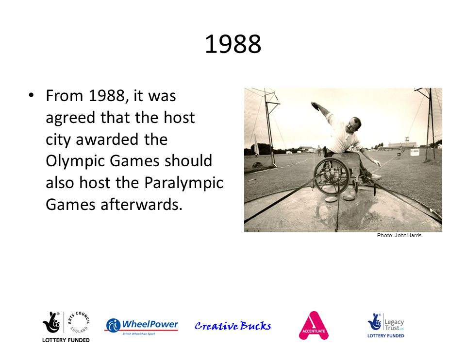 Creative Bucks 1988 From 1988, it was agreed that the host city awarded the Olympic Games should also host the Paralympic Games afterwards. Photo: Joh