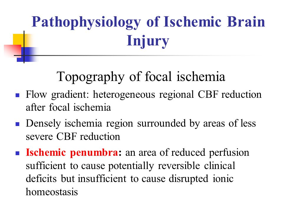Pathophysiology of Ischemic Brain Injury Topography of focal ischemia Flow gradient: heterogeneous regional CBF reduction after focal ischemia Densely
