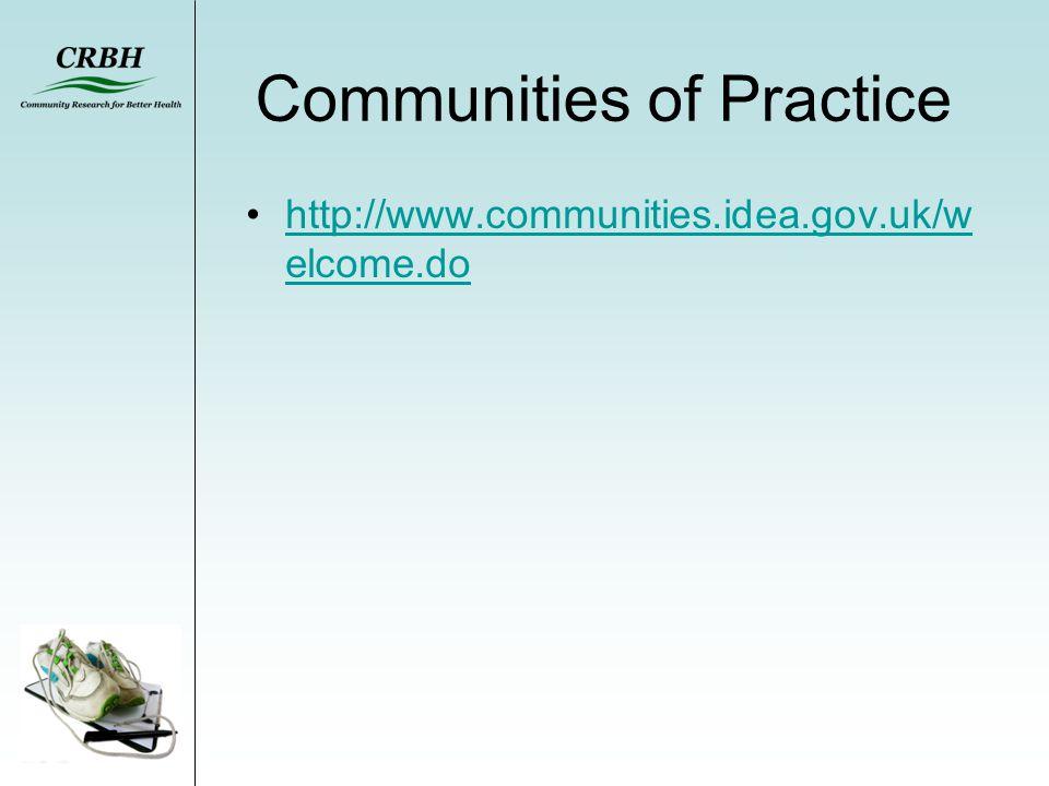 Communities of Practice http://www.communities.idea.gov.uk/w elcome.dohttp://www.communities.idea.gov.uk/w elcome.do