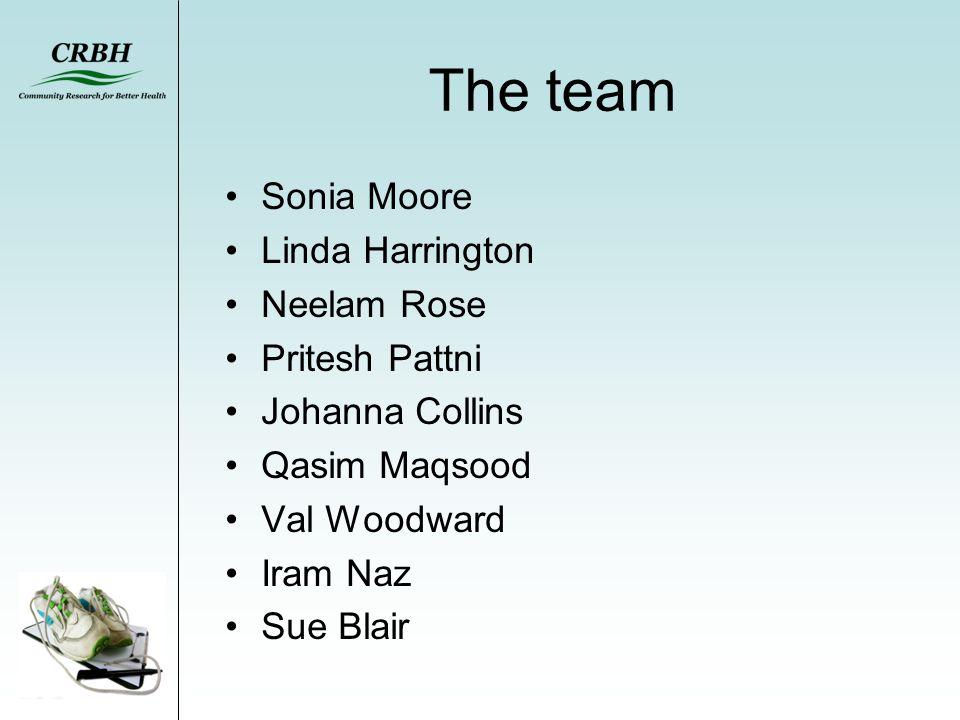 The team Sonia Moore Linda Harrington Neelam Rose Pritesh Pattni Johanna Collins Qasim Maqsood Val Woodward Iram Naz Sue Blair