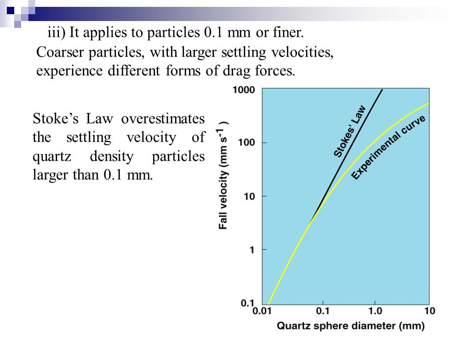 Coarser particles, with larger settling velocities, experience different forms of drag forces. iii) It applies to particles 0.1 mm or finer. Stoke's L