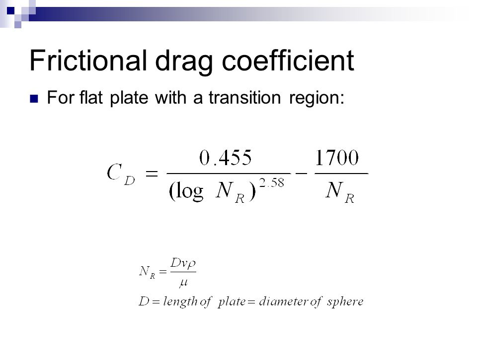 Frictional drag coefficient For flat plate with a transition region: