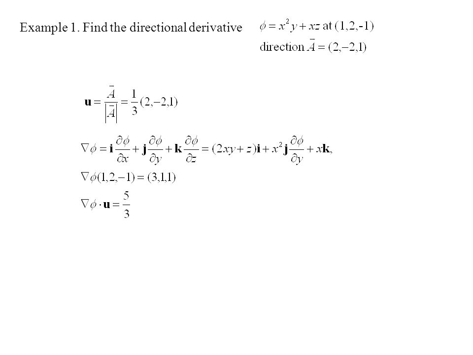Example 1. Find the directional derivative
