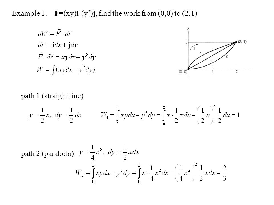 Example 1.F=(xy)i-(y 2 )j, find the work from (0,0) to (2,1) path 1 (straight line) path 2 (parabola)