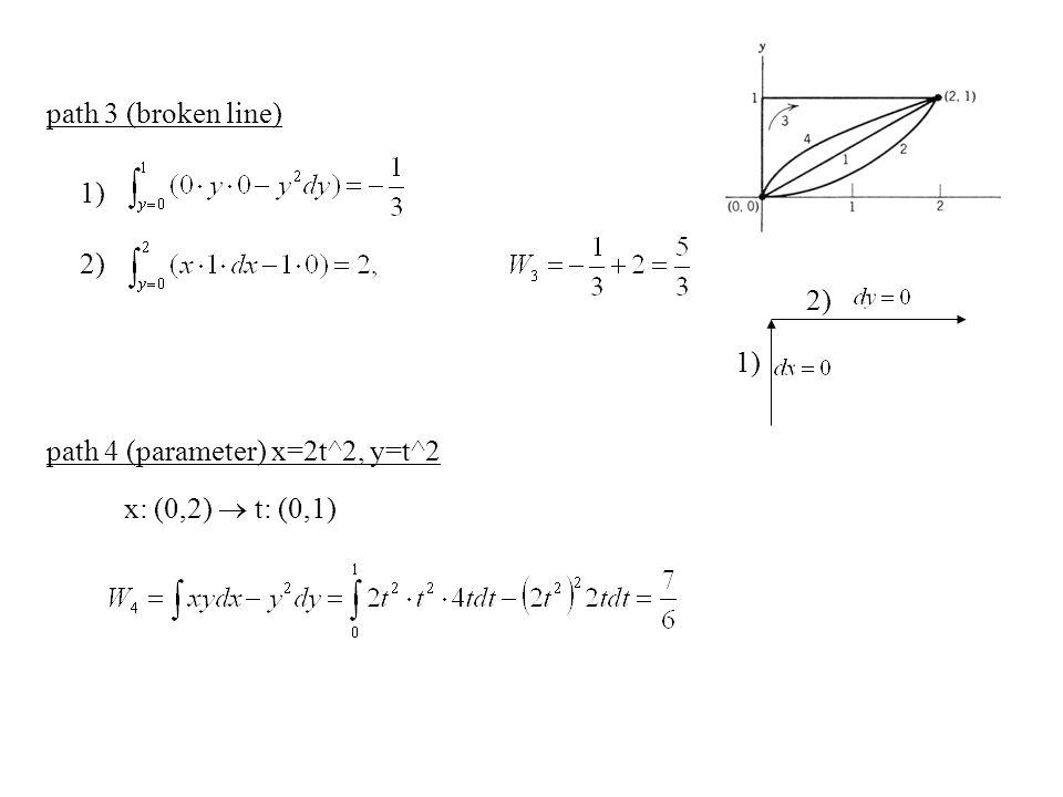 path 3 (broken line) path 4 (parameter) x=2t^2, y=t^2 x: (0,2)  t: (0,1) 1) 2) 1) 2)