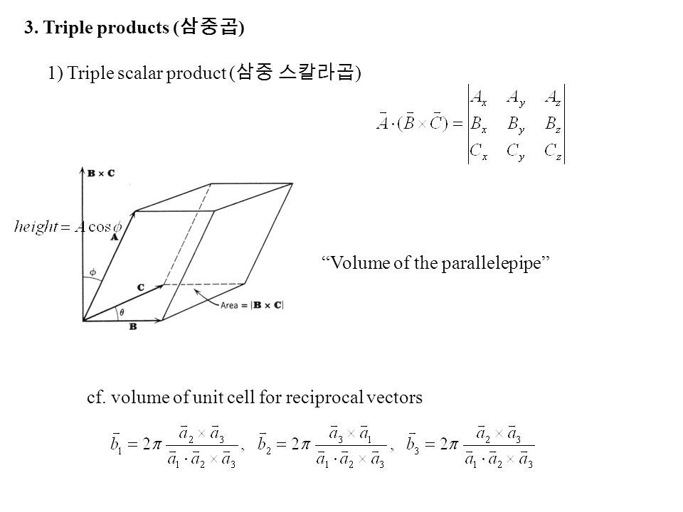 """1) Triple scalar product ( 삼중 스칼라곱 ) 3. Triple products ( 삼중곱 ) cf. volume of unit cell for reciprocal vectors """"Volume of the parallelepipe"""""""