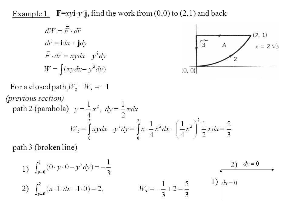 Example 1. F=xyi-y 2 j, find the work from (0,0) to (2,1) and back For a closed path, path 2 (parabola) (previous section) path 3 (broken line) 1) 2)
