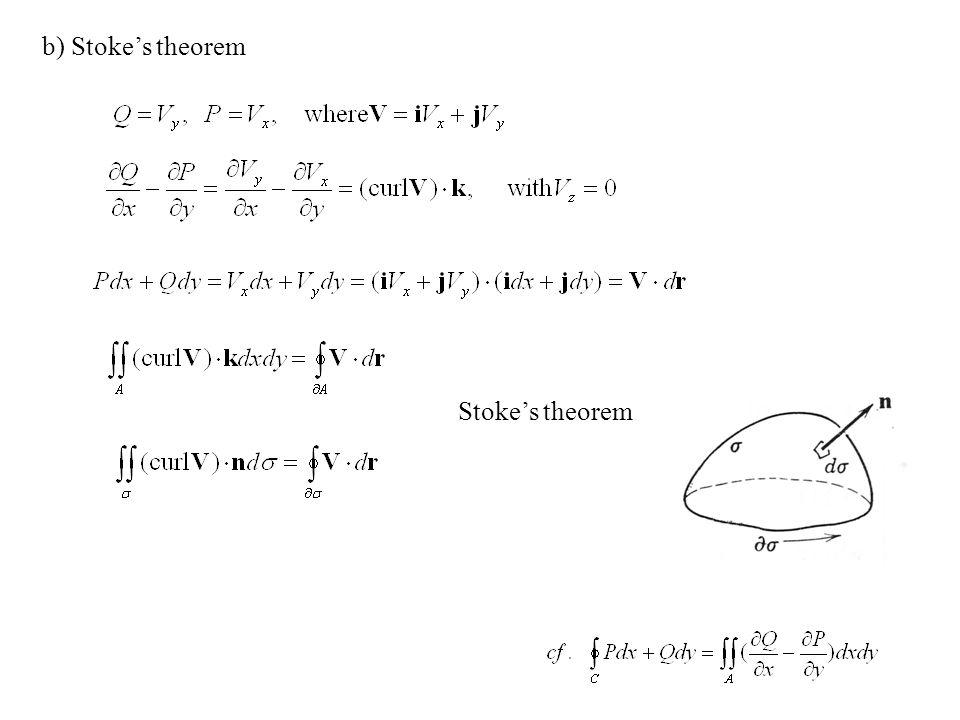 b) Stoke's theorem Stoke's theorem