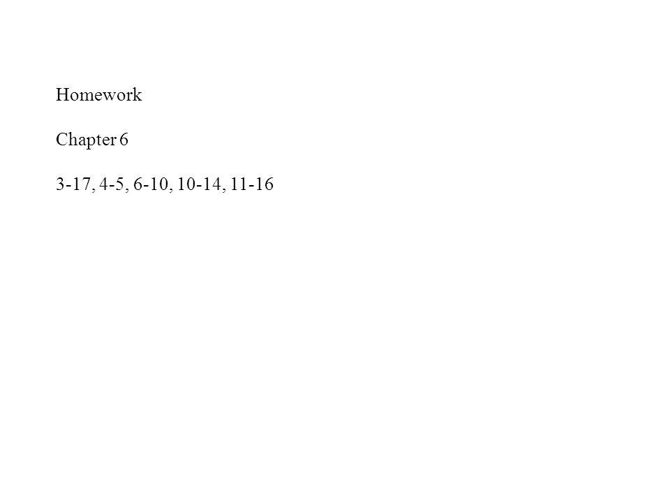 Homework Chapter 6 3-17, 4-5, 6-10, 10-14, 11-16