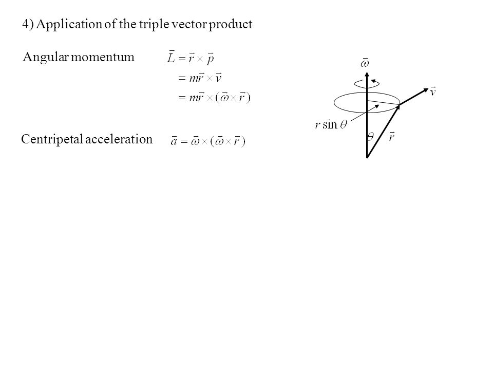 4) Application of the triple vector product Angular momentum Centripetal acceleration