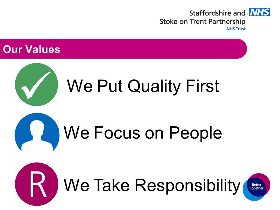 Our Values We Put Quality First We Focus on People We Take Responsibility