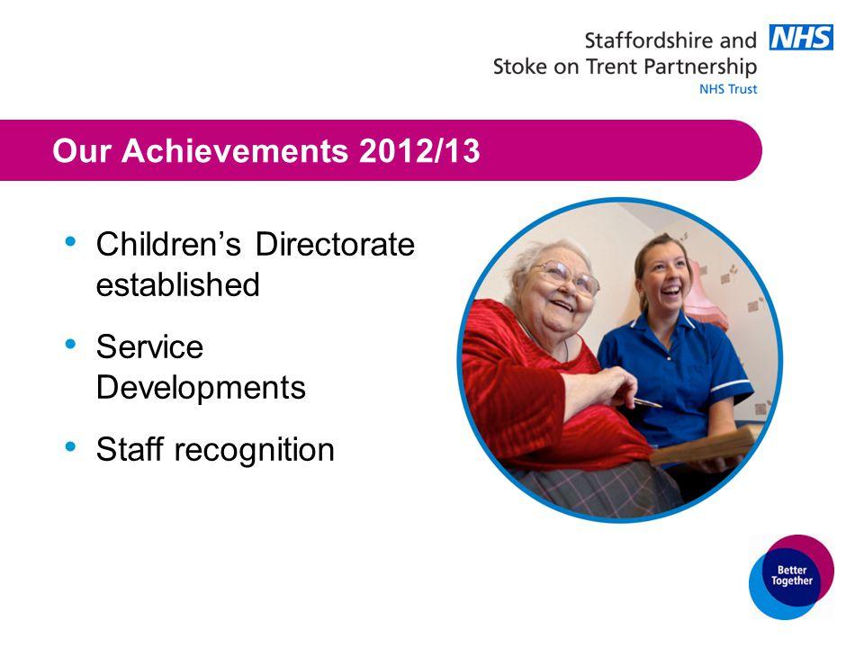 Our Achievements 2012/13 Children's Directorate established Service Developments Staff recognition