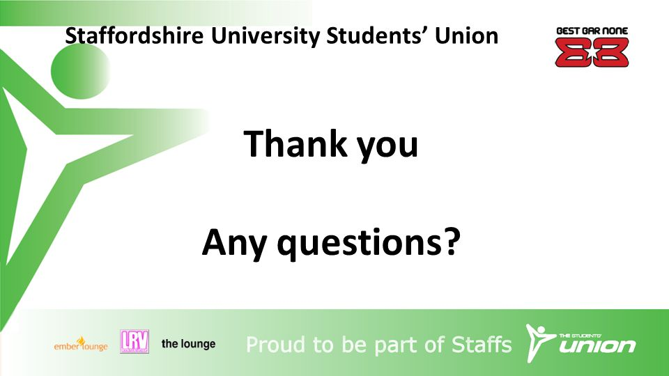 Staffordshire University Students' Union Thank you Any questions?