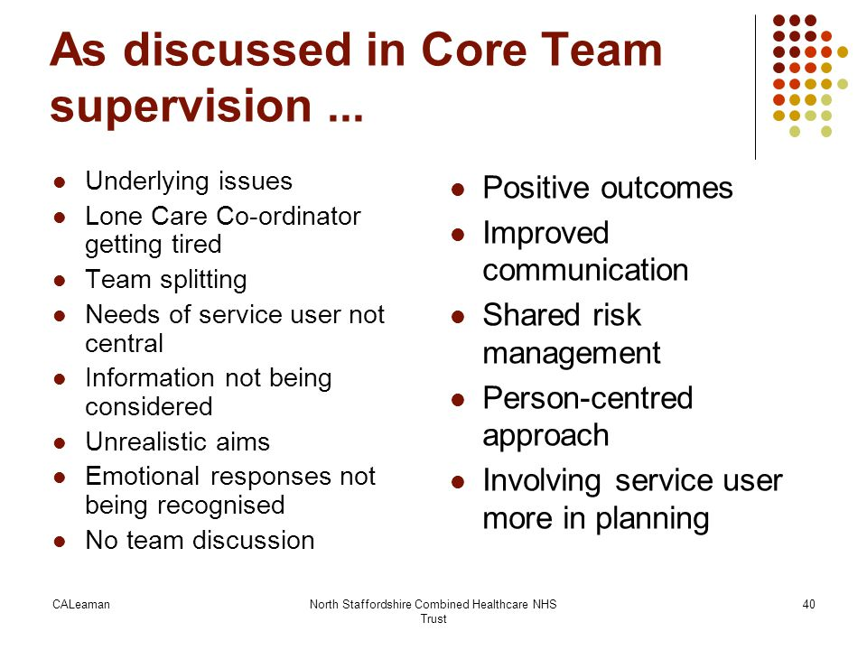 CALeamanNorth Staffordshire Combined Healthcare NHS Trust 40 As discussed in Core Team supervision... Underlying issues Lone Care Co-ordinator getting