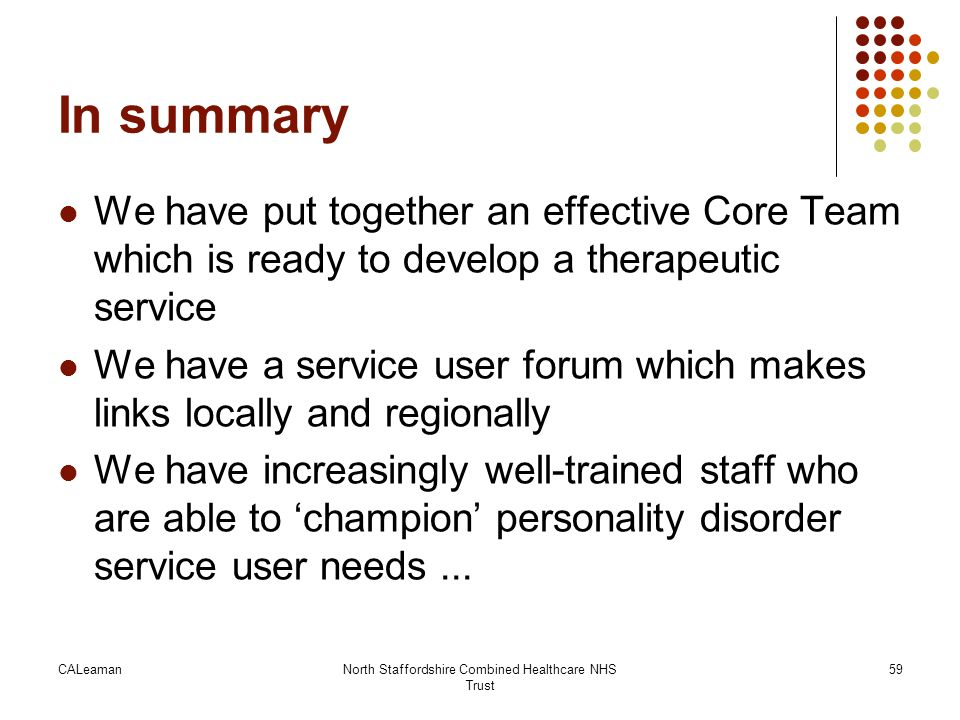 In summary We have put together an effective Core Team which is ready to develop a therapeutic service We have a service user forum which makes links