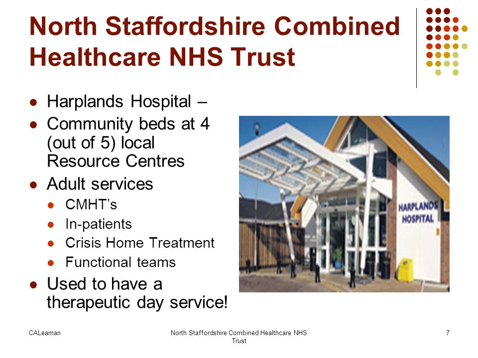 CALeamanNorth Staffordshire Combined Healthcare NHS Trust 8 Services for people with personality disorders … in 2004 Routine care Psychological therapies service – Non-specialist for personality disorder Open to all service users Care Programme Approach People with personality disorders struggled to get appropriate care Out of area referrals for therapy Main House – NHS regional therapeutic communtiy Private services