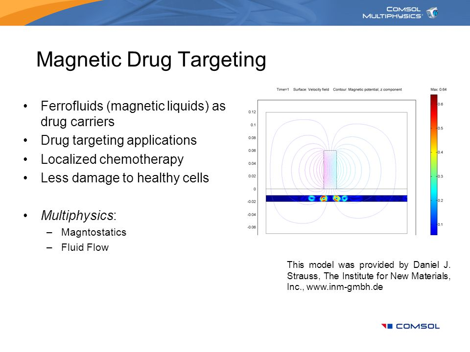 Magnetic Drug Targeting Ferrofluids (magnetic liquids) as drug carriers Drug targeting applications Localized chemotherapy Less damage to healthy cells Multiphysics: –Magntostatics –Fluid Flow This model was provided by Daniel J.