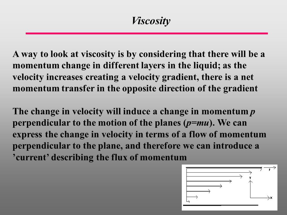 Viscosity A way to look at viscosity is by considering that there will be a momentum change in different layers in the liquid; as the velocity increases creating a velocity gradient, there is a net momentum transfer in the opposite direction of the gradient The change in velocity will induce a change in momentum p perpendicular to the motion of the planes (p=mu).