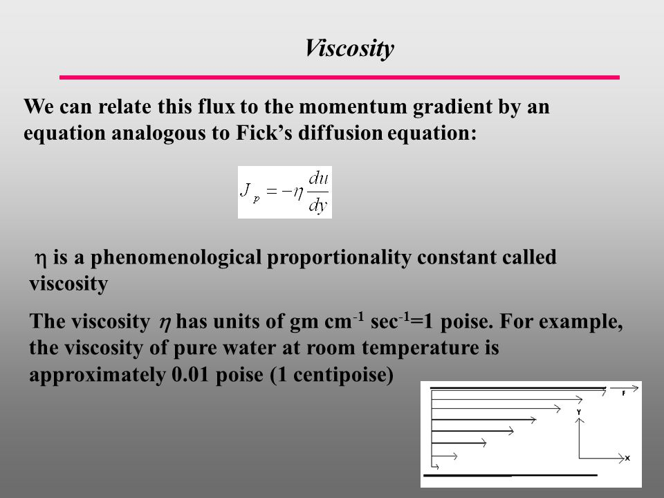 Viscosity We can relate this flux to the momentum gradient by an equation analogous to Fick's diffusion equation:  is a phenomenological proportionality constant called viscosity The viscosity  has units of gm cm -1 sec -1 =1 poise.