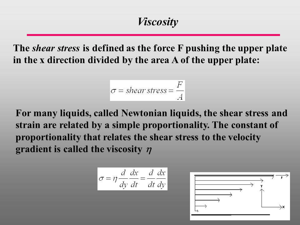 Viscosity The shear stress is defined as the force F pushing the upper plate in the x direction divided by the area A of the upper plate: For many liquids, called Newtonian liquids, the shear stress and strain are related by a simple proportionality.