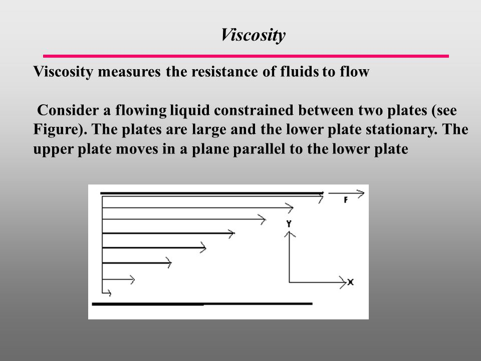 Viscosity Viscosity measures the resistance of fluids to flow Consider a flowing liquid constrained between two plates (see Figure).