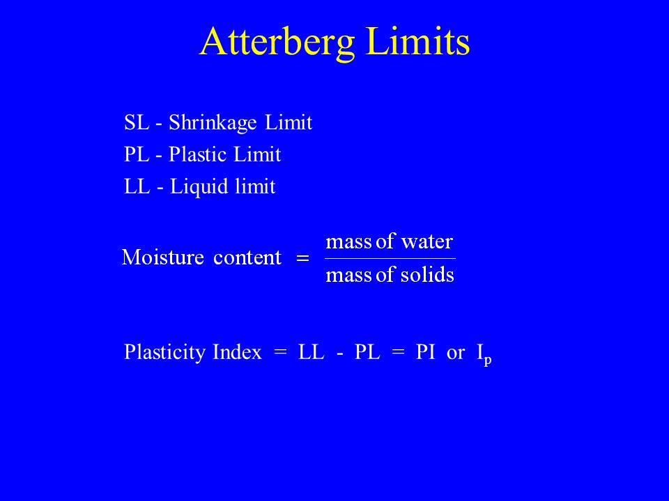 Atterberg Limits SL - Shrinkage Limit PL - Plastic Limit LL - Liquid limit Plasticity Index = LL - PL = PI or I p