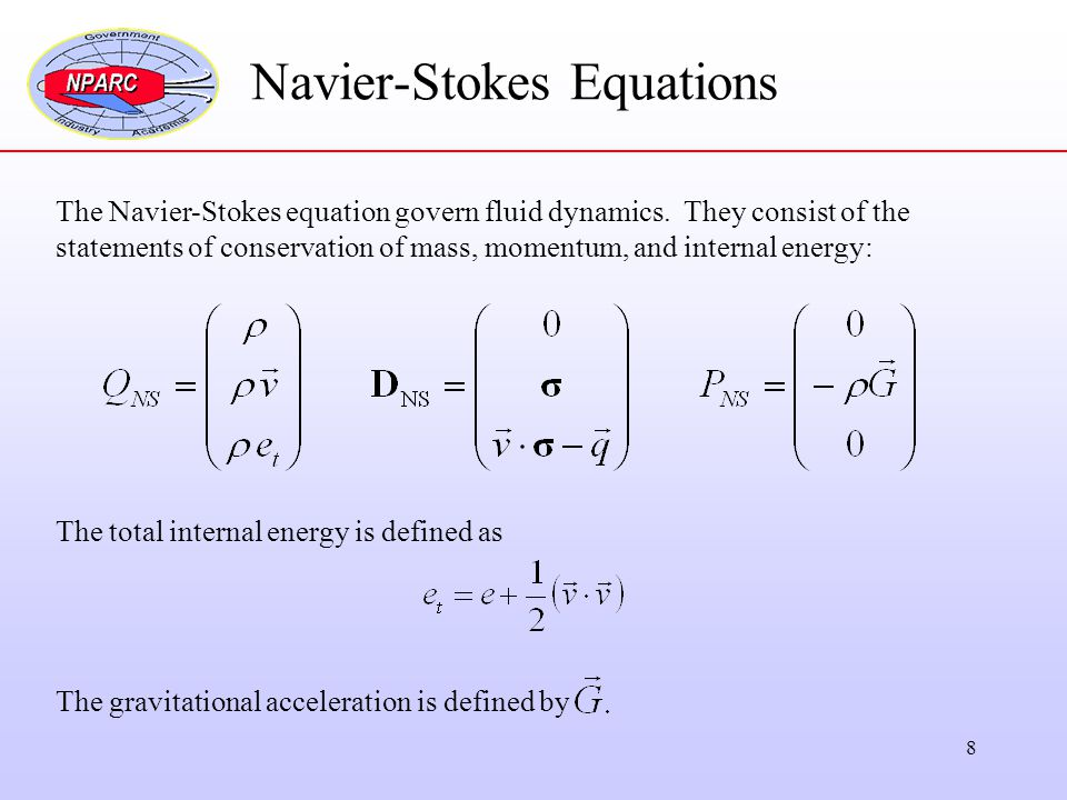 8 Navier-Stokes Equations The Navier-Stokes equation govern fluid dynamics. They consist of the statements of conservation of mass, momentum, and inte