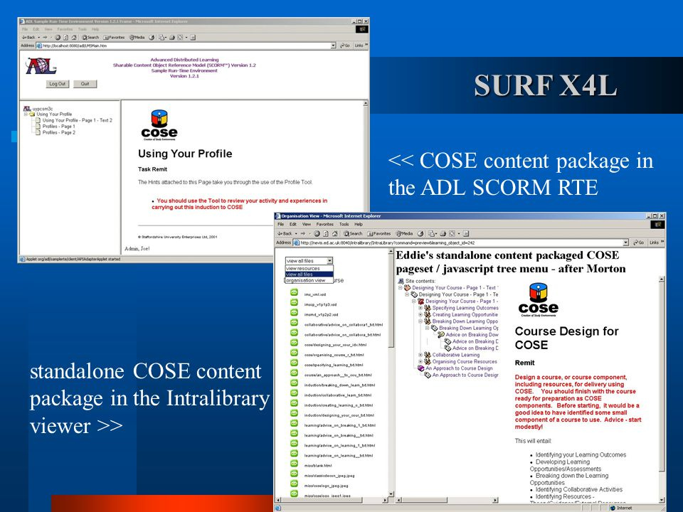 standalone COSE content package in the Intralibrary viewer >> << COSE content package in the ADL SCORM RTE SURF X4L