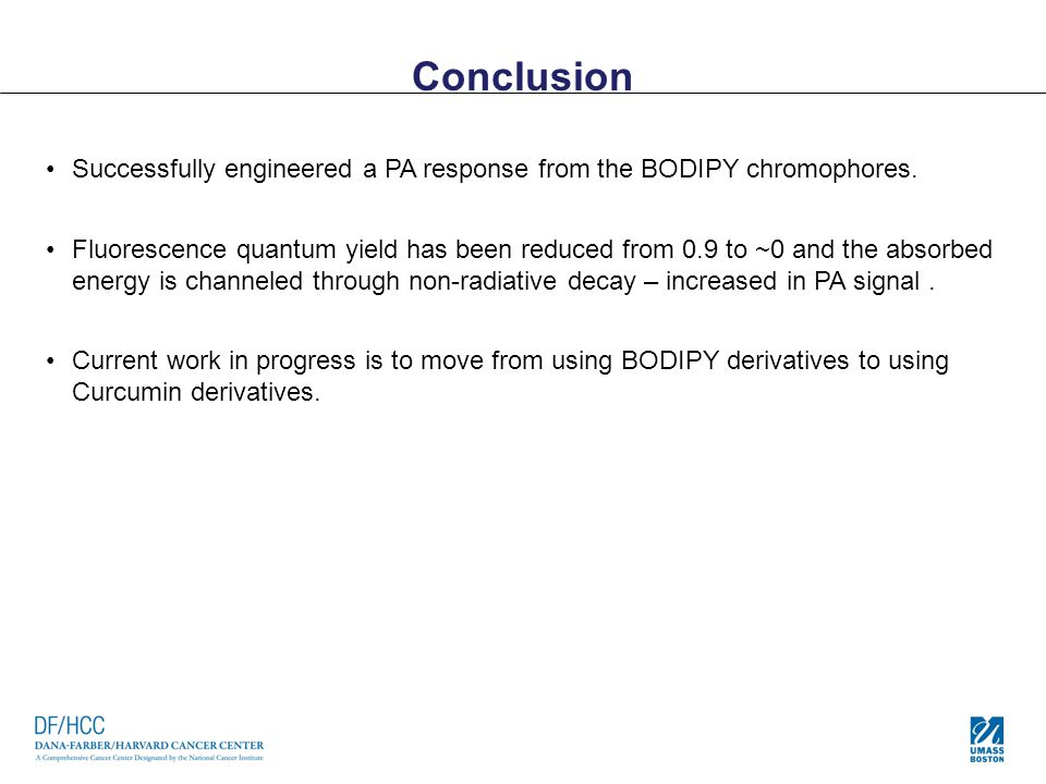 Conclusion Successfully engineered a PA response from the BODIPY chromophores. Fluorescence quantum yield has been reduced from 0.9 to ~0 and the abso