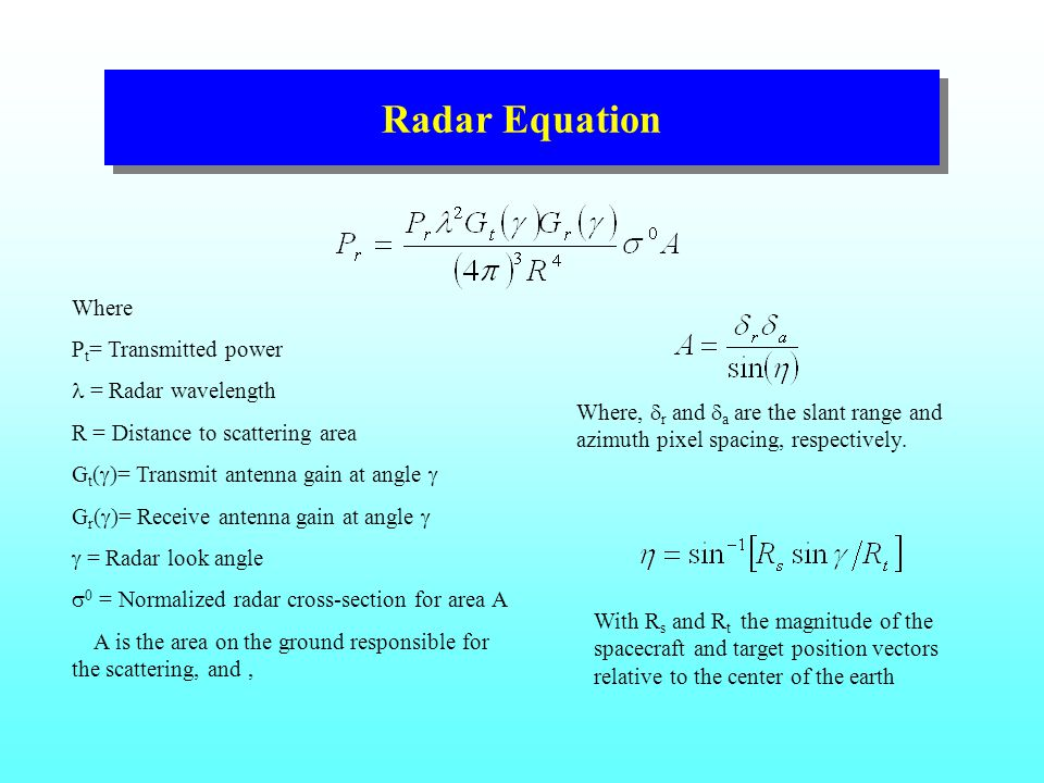 Radar Equation Where P t = Transmitted power = Radar wavelength R = Distance to scattering area G t (  )= Transmit antenna gain at angle  G r (  )= Receive antenna gain at angle   = Radar look angle  0 = Normalized radar cross-section for area A A is the area on the ground responsible for the scattering, and, Where,  r and  a are the slant range and azimuth pixel spacing, respectively.