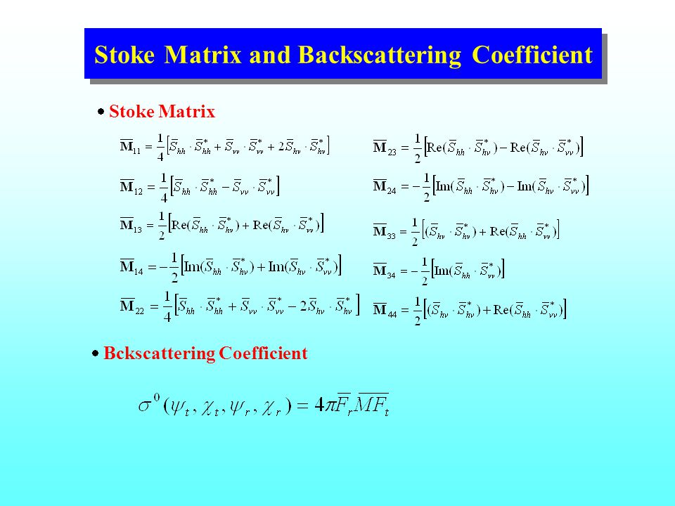 Stoke Matrix and Backscattering Coefficient  Stoke Matrix  Bckscattering Coefficient