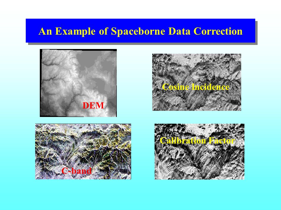 An Example of Spaceborne Data Correction DEM Cosine Incidence Calibration Factor C-band