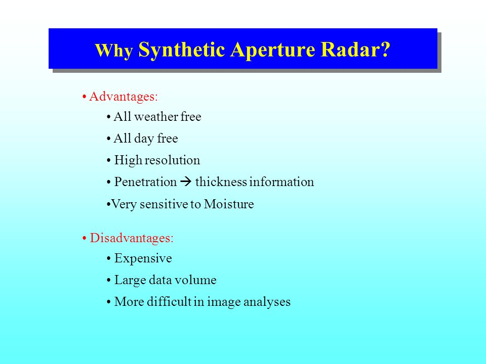 Why Synthetic Aperture Radar.