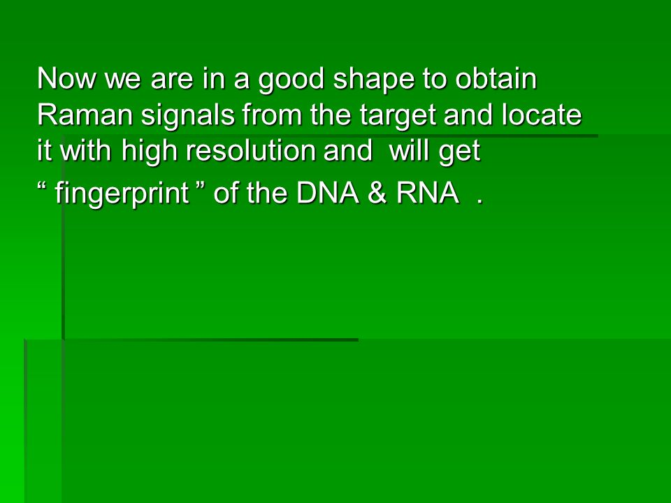 Now we are in a good shape to obtain Raman signals from the target and locate it with high resolution and will get fingerprint of the DNA & RNA.