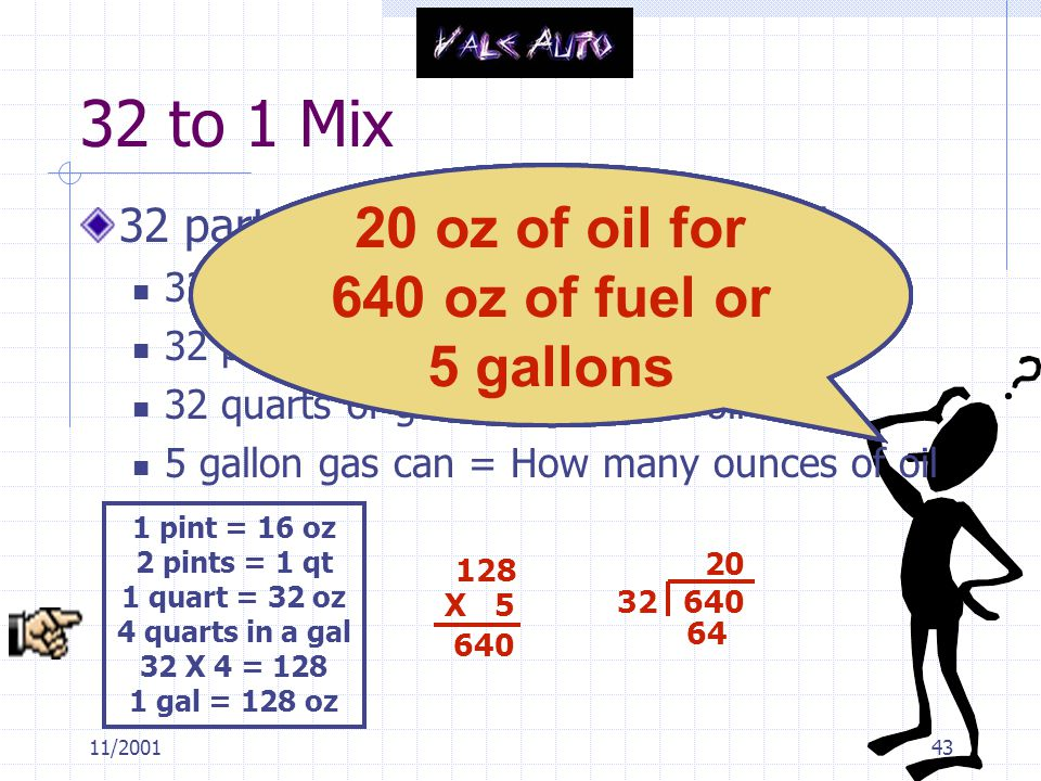 11/200143 32 to 1 Mix 32 parts of gasoline to 1 part of oil 32 ounces of gas to 1 ounce of oil 32 pints of gas to 1 pint of oil 32 quarts of gas to 1 quart of oil 5 gallon gas can = How many ounces of oil 1 pint = 16 oz 2 pints = 1 qt 1 quart = 32 oz 4 quarts in a gal 32 X 4 = 128 1 gal = 128 oz How am I going to figure this out.
