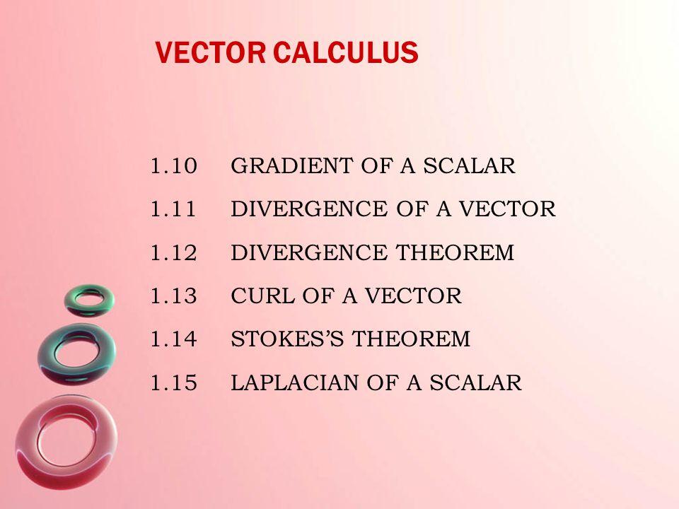 VECTOR CALCULUS 1.10 GRADIENT OF A SCALAR 1.11 DIVERGENCE OF A VECTOR 1.12 DIVERGENCE THEOREM 1.13 CURL OF A VECTOR 1.14 STOKES'S THEOREM 1.15 LAPLACIAN OF A SCALAR