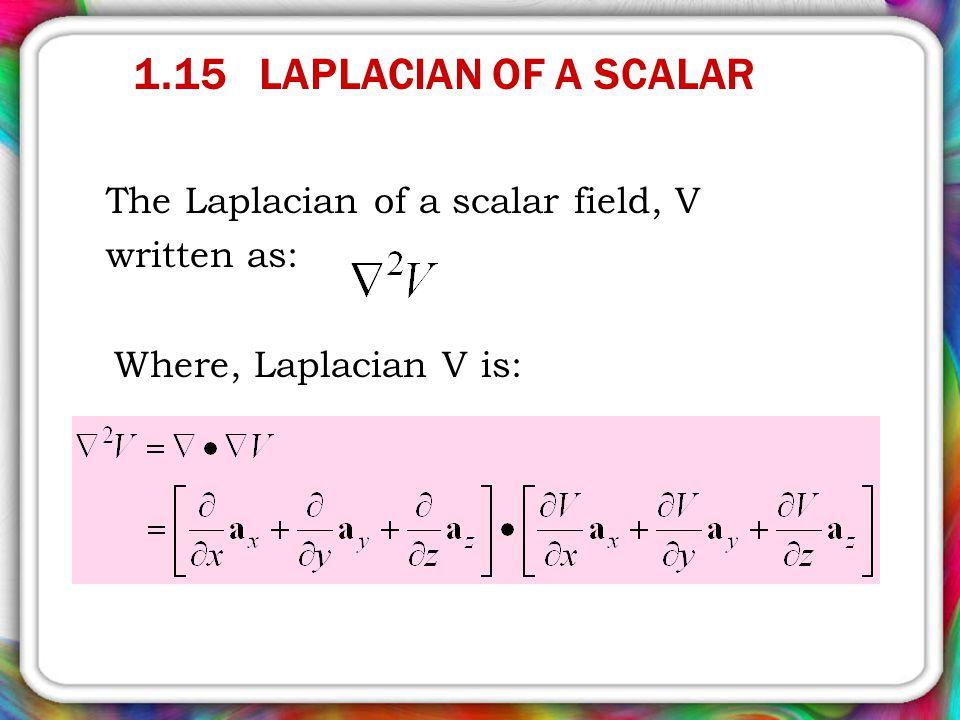 1.15 LAPLACIAN OF A SCALAR The Laplacian of a scalar field, V written as: Where, Laplacian V is:
