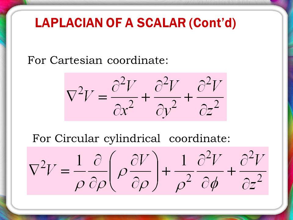For Cartesian coordinate: For Circular cylindrical coordinate: LAPLACIAN OF A SCALAR (Cont'd)